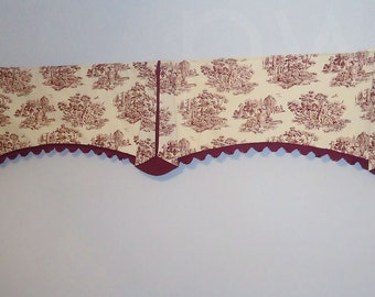 Red Ivory Toile Double Wide Window Valance