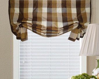 Brown Gold White Check Faux Silk Valance Faux Shade