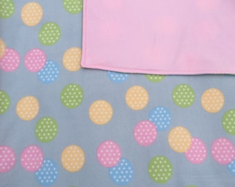 Easter Cozy Fleece Blanket/Throw with Multi colored Polka Dot Circles Easter bedding Baby bedding toddler bedding teen throw adult throw