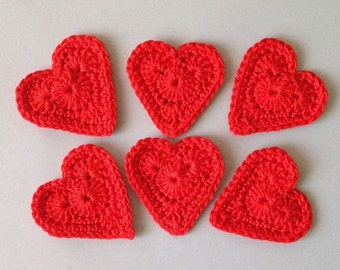 Red Heart Crochet Cotton, Set of 6 Crocheted Hearts, Red Hearts for scrapbooking, Gift wrapping, Applique crochet, Red Heart for Garland