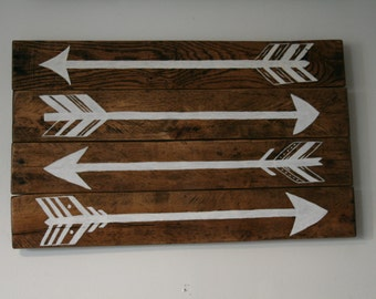 Arrows / Wall Art / Reclaimed Wood / Hand Painted / Wall Decor