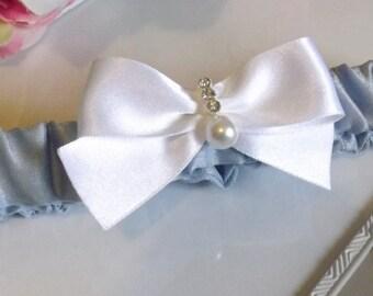ELLIE - Blue Silk Garter, Blue Garter, Silk Garter, Something Blue Garter, Bridal Garter