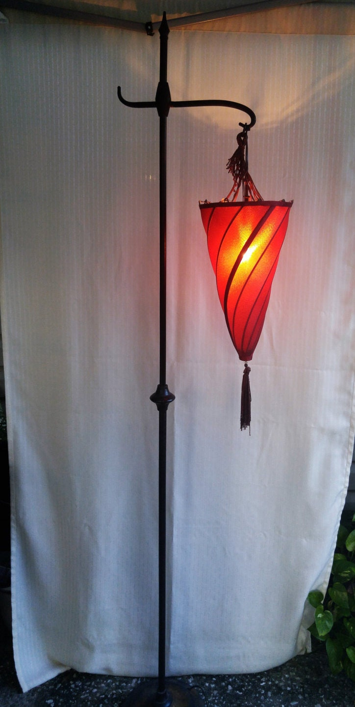 Vintage floor lamp spiral lamp shade burgundy with tassel for Antique brass spiral floor lamp