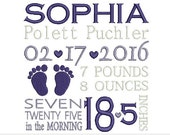 Personalized birth announcement embroidery design, Subway art embroidery, design , Baby embroidery design, baby foot embroidery, baby foot