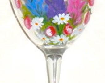 Lupine Wine Glass, lupine art, hand painted wine glass, Maine art, lupine wine glasses, lupine bouquet on a sturdy 10.5 oz wine glass