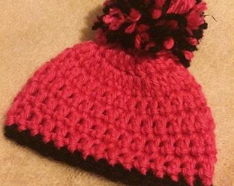 Oversized Pom Pom Preemie Crochet Beanie