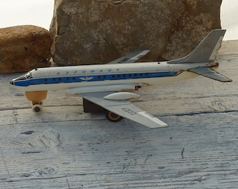 1965 CCCP Tin Plane Soviet USSR Toy Aeroflot Battery Operated Vintage Russian Tin Toy