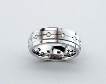 Diamond Comfort Fit Titanium Wedding Band, Mens Wedding Band, Personalised Band