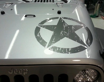 Jeep Wrangler Oscar Mike distressed style military star decal 2 decals