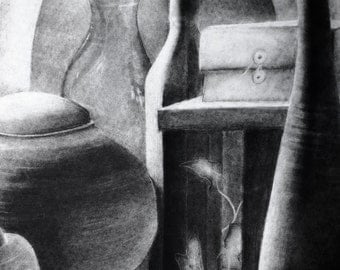 Original Charcoal Still Life with Ghost Ivy