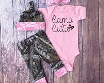 Baby Girls Coming Home Outfit, Camo Leggings, Camo Cutie, Hat and Headband, Pink with White Lace, Little Girls Country Outfit, Pink Bodysuit