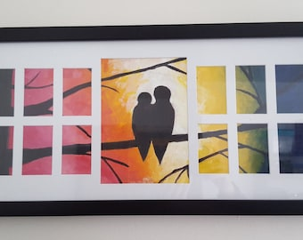 Two Birds Sitting on Tree Oil Painting Framed