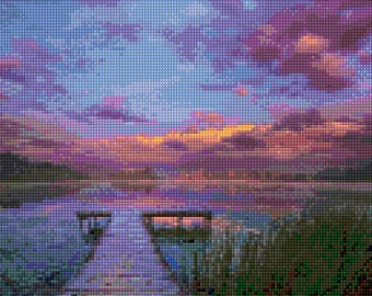 Waterfront Dock at Sunset Cross Stitch pattern PDF - Instant Download!