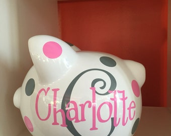 Piggy Bank-children's Personalized Piggy Bank-large piggy bank- Girls-girls personalized piggy bank- new baby gift-monogrammed piggy bank