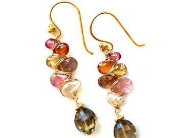 Tourmaline, Tundra Sapphire and Smoky Quartz Earrings--Tourmaline Earrings--Tundra Sapphire Earrings--Smoky Quartz Earrings--Pink Tourmaline