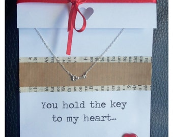 925 Silver Key Necklace 'You hold the key to my heart'