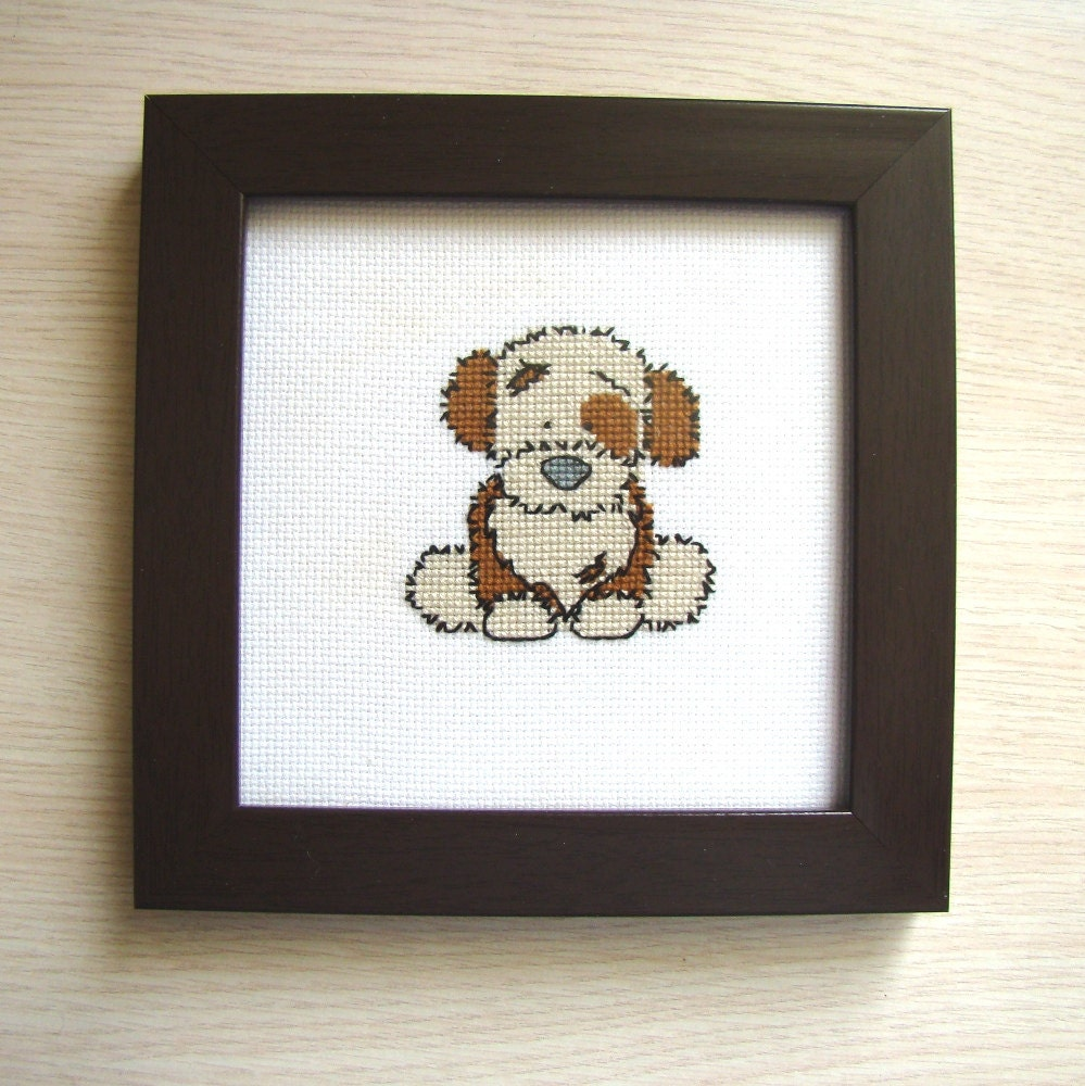 Wall Decor Cross Stitch : Cross stitch dog puppy picture wall d?cor nursery
