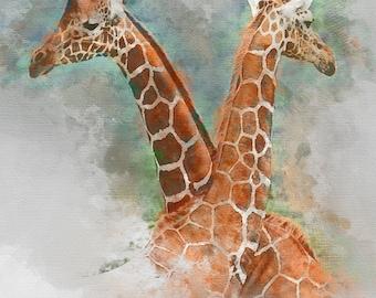 Giraffe Art, giraffe gift print, giraffe nursery, giraffe art print, animal art, giraffe print, animal print, african animal, giraffe poster