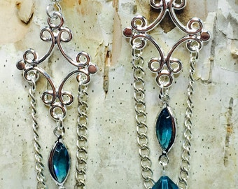 Sky Blue Swarovski Crystal Chandelier Earrings