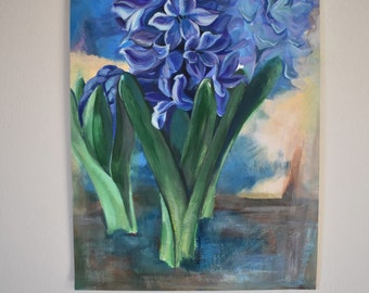 Original Acrylic Hyacinth II Painting,unmounted & unframed on card Signed and dated. bright and cheerful flower art for home, office or gift