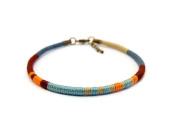 Bracelet ethnic man / / Bracelet woven hand of Spider Gypsie / / Brazilian Style, boho / / blue grey, beige, orange and Brown