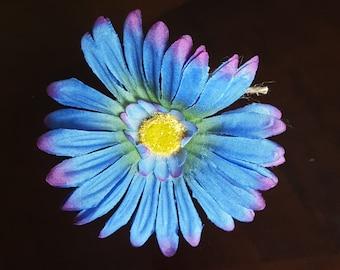 Purple Blue Daisy - Rustic Wedding Jute-wrapped Guest Book Handmade Flower Pen ITEM 207