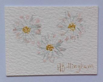 Little Daisies - original miniature watercolour painting
