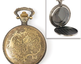 Steampunk Large Watch Case pocket watch antique gold empty casing