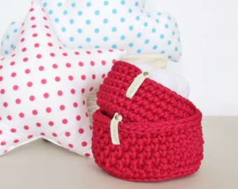 Handmade set of crocheted baskets RASPBERRY