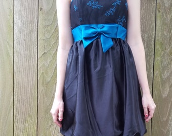 70s 80s Gunne sax xs black and blue bubble skirt party dress Jessica McClintock new with tags
