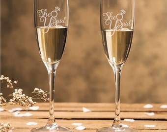 Engraved - She Said Yes Champagne Flutes (2pcs) - NOT Personalized Toasting Flutes - DGI23-A19