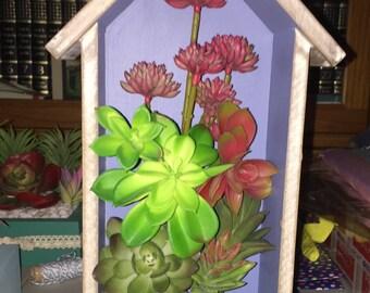 SALE - 50% OFF Faux Succulent Planter in House-Shaped Shadowbox, Succulent Arrangement, 3D Wall Art, Succulent Gift, Vertical Planter