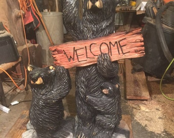 Welcome Bear Family Chainsaw Carving
