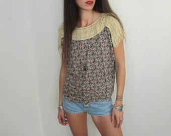 60s Vintage Women Knitted Patterned Top