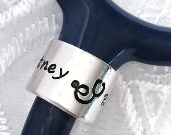 Stethoscope ID Ring, Stethoscope Charm, Shiny Stethoscope ID Ring Tag, Gift for a Nurse,  Personalized Stethoscope Ring