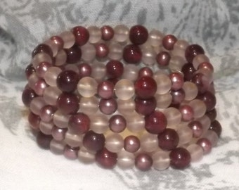 Bracelet of glass beads on memory wire, wine red