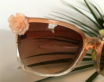 Rust Retro Sunglasses with Kawaii Resin Rose