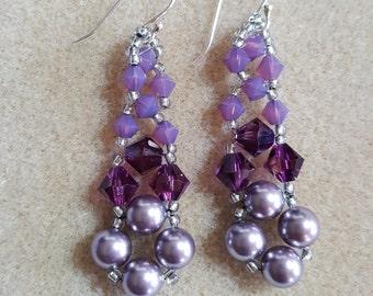 Purple Geetha Swarovski Earrings