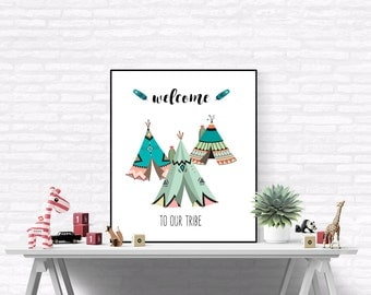 Teepee Print, Teepee Printable Art, Welcome to Our Tribe Boho Nursery Art,  Tribal Printable, Tribal Nursery, Teepee Printable, Indian Boho