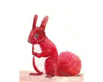 Squirrel Painting. Red Squirrel Portrait. Woodland Animal Illustration, Irish Animal Art, Squirrel Nursery Art. Squirrel Illustration.