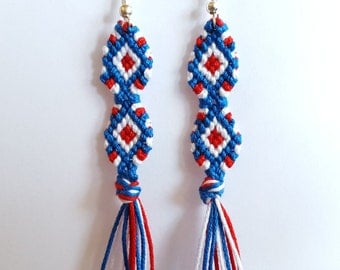blue, white and red rhombuses - earrings hanging and braided with the hand
