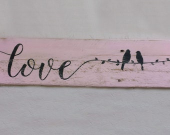 Rustic Distressed Love Birds on a Wire Reclaimed Wood Sign