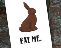 Chocolate Easter Bunny - Funny Naughty Card, Kinky Card, Card for Girlfriend, Card for Boyfriend, Thinking of You, Love Card