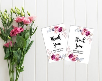 Purple Roses Personalized Favor Gift Tags, Printable Boho Wedding Favor Tags, Floral Favor Tags, Lilac Floral Thank You, Download, 102-A