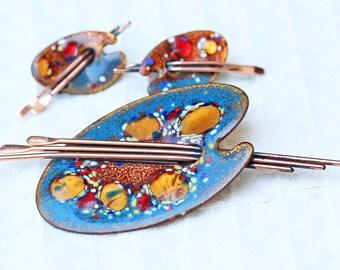 Vintage Matisse Renoir Brooch and Earrings Blue Artist Palette - Demi Parure Set
