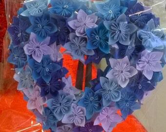 Heart blue kusudama paper flowers