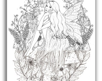 Fairy in Flowers A4 Illustration Print