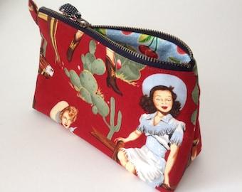 Retro pinup handmade fabric Cowgirl Bag