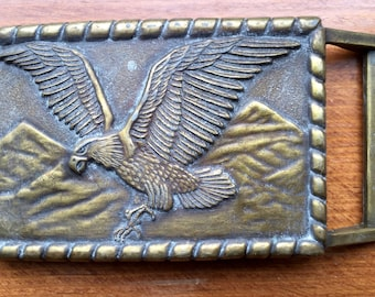 Eagle & Mountains Brass Belt Buckle