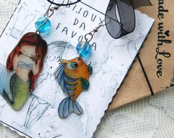 The little mermaid Earring, LA SIRENETTA orecchini, Bijoux da Favola, Fairy Jewellery
